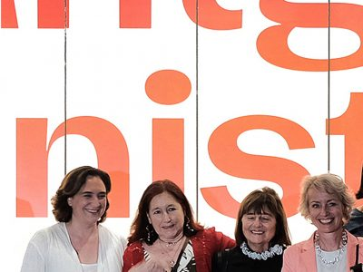 Con la alcaldesa Ada Colau, Eugenia Balcells y Gabriele Schor